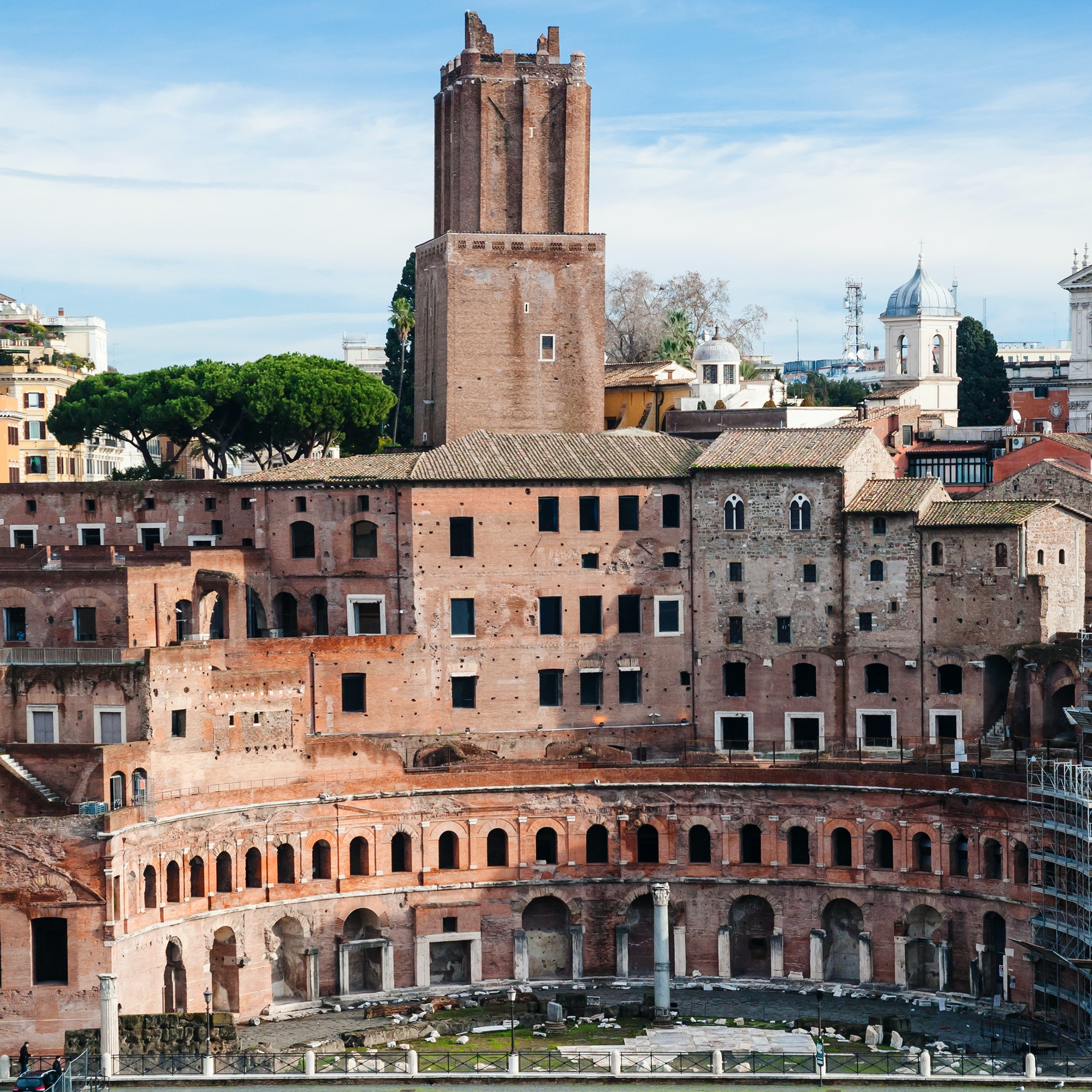 ancient trajan's market in roman forum in Rome