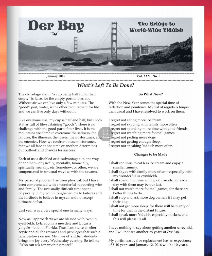 Der Bay Yiddish Newsletter